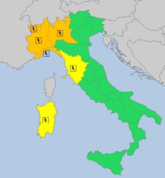 Alerty meteorologiczne we wtorek o godz. 13 (meteoalarm.eu)