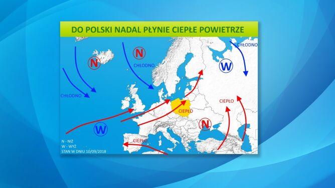 Do Polski nadal płynie ciepłe powietrze