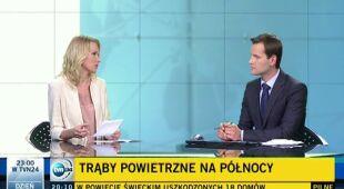Agnieszka Cegielska o trąbach powietrznych nad Polską (TVN24)